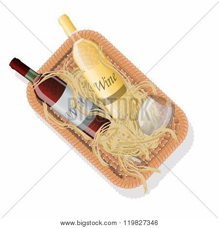 Picnic basket with bottles of red and white wine in straw. Vector illustration