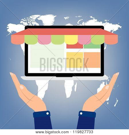 Hand Hold Laptop Notebook Pc With Shop Online Store On World Map Background. E-commerce Omnichannel