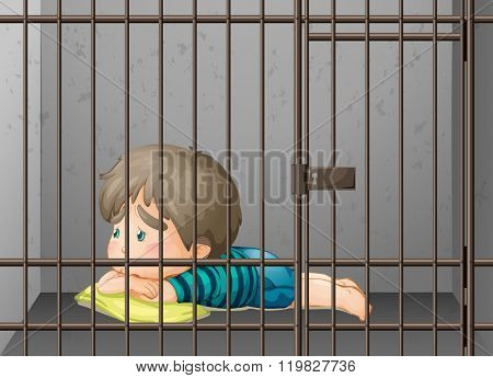 Little boy being locked up in the cell illustration