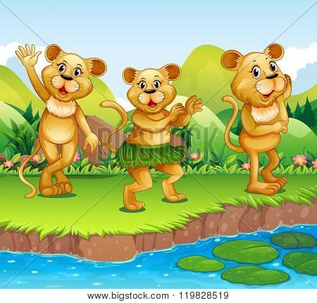 Lions dancing by the river illustration