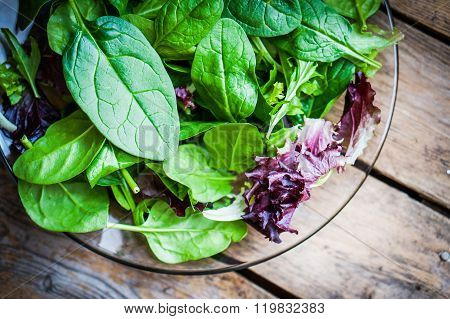 Fresh Spinach In A Bowl On Rustic Wooden Background