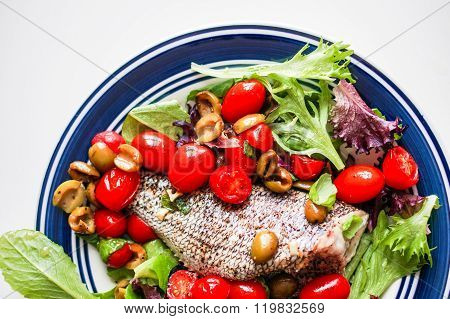 Baked Seabass With Tomatoes And Basil On White Background