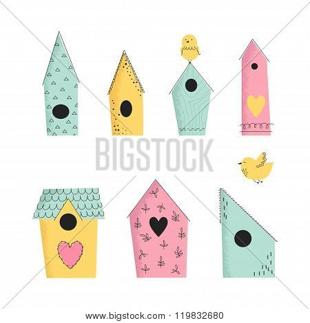 Set Of Vector Illustration Birdhouses.