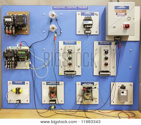 An industrial motor control training panel.  Used in adult and vocational education.