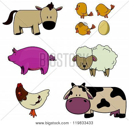 Farm Animal : Horse,Chicken,Pig,Sheep,Rooster and cock