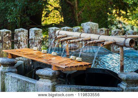 Chuzuya (or Temizuya) purification area Seiganto-ji temple in Wakayama