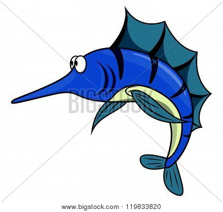 Marlin fish cartoon illustration