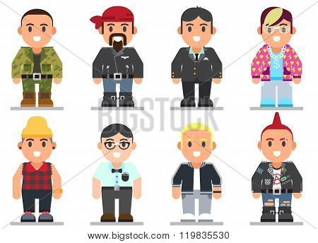 different subcultures man in trendy flat style.