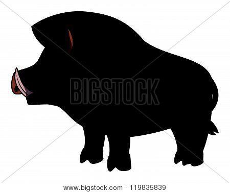 Wild boar cartoon illustration isolated white