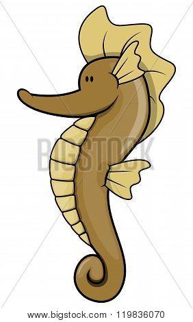 Sea horse cartoon illustration isolated white
