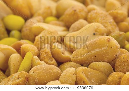 Fresh Mixed Salted Nuts For Backgrounds