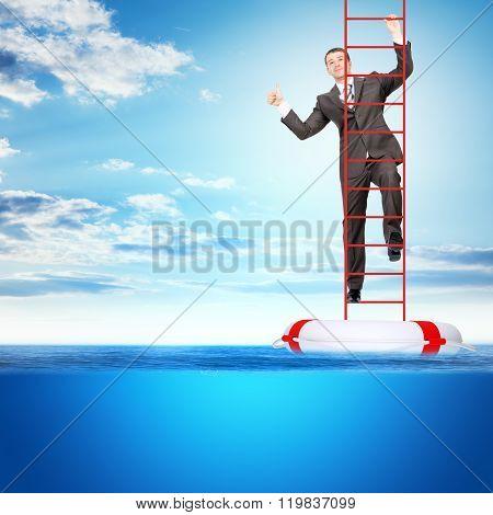 Buisnessman on climbing stairs