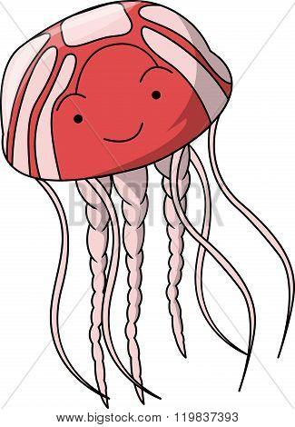 Jelly fish cartoon illustration