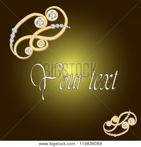 Gold Jewelry Background With Diamond Brooch. Jewelry Brooch Jewelry Floral Decoration. Can Use For G