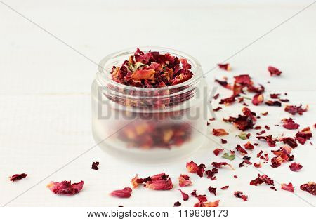 Herbal rose petals therapy.