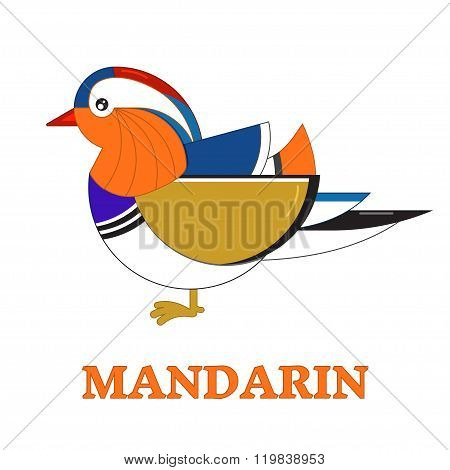 Mandarin Duck Geometric Line Icon