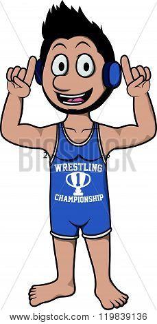 wrestling man costume .eps10 editable vector illustration design