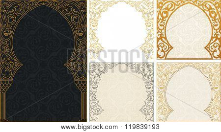 Eid al Adha greeting gold background set. Feast of the Sacrifice vector ornament. Arch Muslim mosque silhouette design