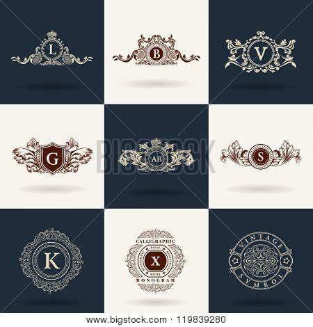 Luxury logos monogram. Vintage royal flourishes elements. Calligraphic symbol ornament. Letter L, B, V, G, A, S, K, X. Design luxury logos set. Vector pattern flourishes emblem set. Calligraphic frame