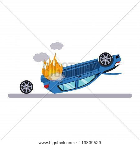Car and Transportation Issue with Burning Car. Vector Illustration
