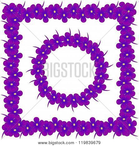 Square and round  flowers frames. Purple, blue violet with yellow center on white background, design