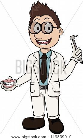 Dentist vector cartoon illustration design