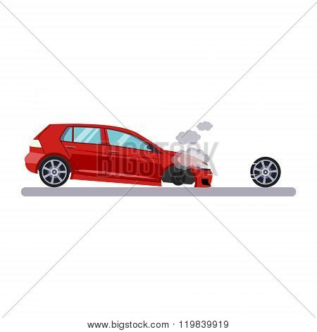 Car and Transportation Issue with a Wheel. Vector Illustration