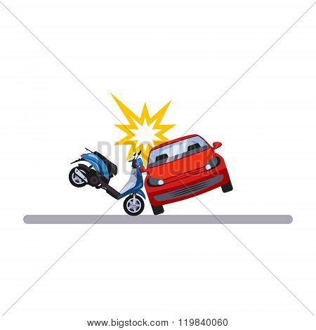 Car and Transportation Issue with a Moped. Vector Illustration