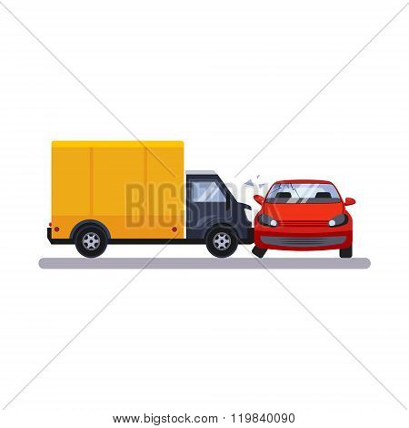 Car and Transportation Issue with a Lorry. Vector Illustration