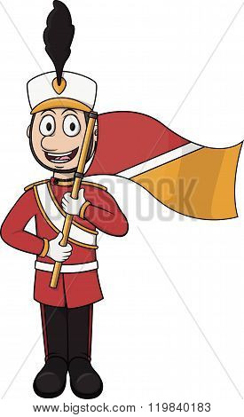 Marching band player cartoon vector illustration