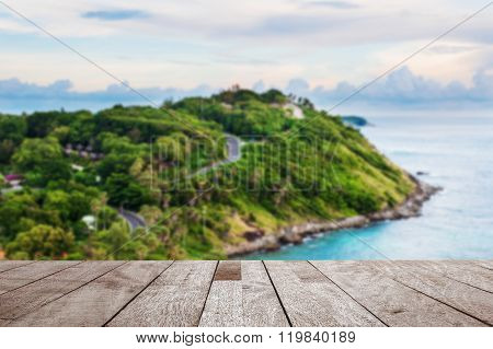 Wood Table Top On Blurred Blue Sea And Island View Point In Morning Light