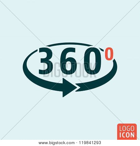 Angle 360 degrees icon isolated