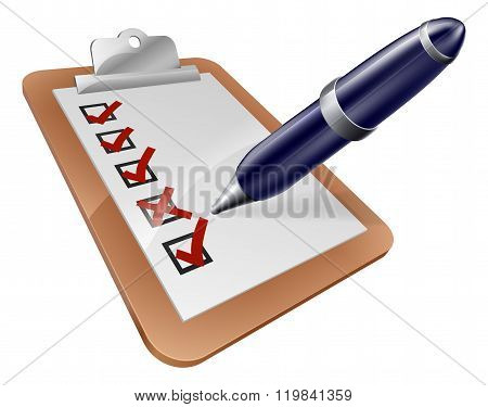 Survey Clipboard And Cartoon Pen
