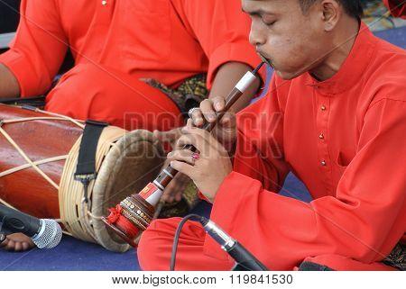 Traditional Malay trumpet call nafiri
