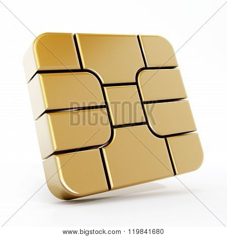 Gold Sim Card Chip Isolated On White Background