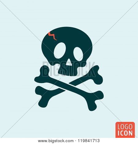 Skull icon isolated