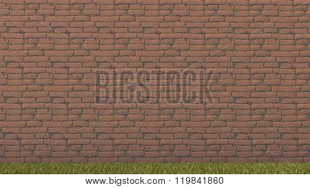 yellow brick wall and green grass background