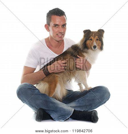 Man And Shetland Sheepdog