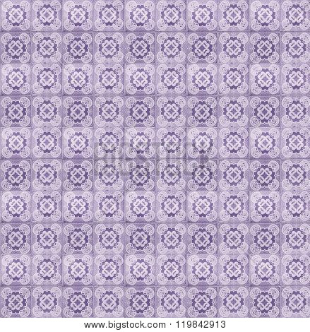 Collage of lilac tiles in Lisbon, Portugal repeated to create a seamless, tillable pattern.