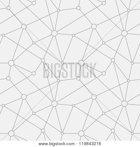 Abstract vector seamless texture. Circles with connections. Molecular structure.