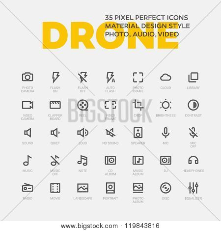 DRONE ICONS. Set of 35 line art vector icons.