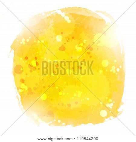Abstract Yellow Watercolor Vector Hand Paint On White Background
