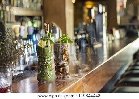 Smokey tiki cocktail