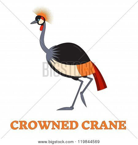 Crowned Crane Line Art Icon