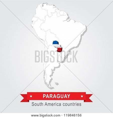 Peru. All the countries of South America. Flag version.
