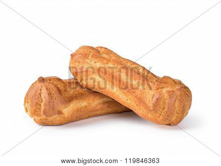 Two Cake Choux Pastry Dough Filled With Whipped Cream On An Isolated White Background