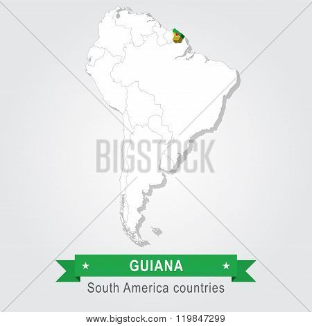 Guiana. All the countries of South America. Flag version.