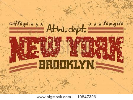 New York City Typography Graphic. Brooklyn Athletic Department
