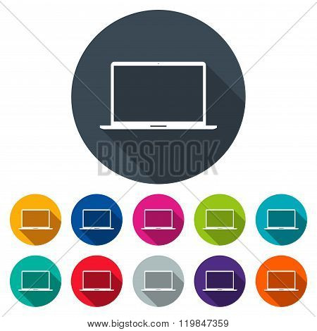 Laptop Icons Colored Set In The Style Flat Design On The White Background. Stock Vector Illustration