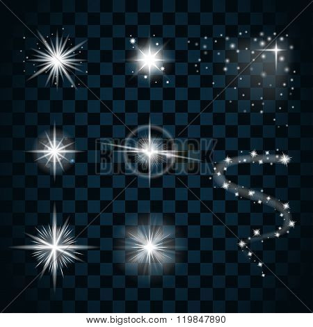 Shine Stars With Glitters And Sparkles Icons Set 1